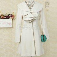 Wholesale Women s Ruffle Falbala Warm Wool Blend Long Coat Jacket Outwear Overcoat Parkas