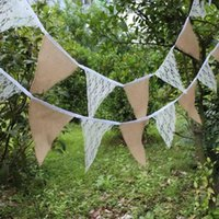 Wholesale 2 M flags burlap linen lace bunting triangle flags pennant for party wedding garland decoration product supply SJQ