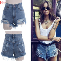 Wholesale New Summer Style Shorts Hole Punk Rock Fashion High Waisted Denim Shorts Vintage Ripped Short Jeans Denim Sexy Womens Short SV000535
