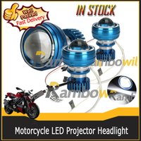 12v ccfl - New V Motorcycle Super Bright LED New High Projector Front Eye Red Blue Angel and Devil Headlight For Clear CCFL