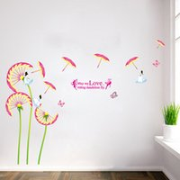 Cheap 9121 dandelion flowers parasol background decorated living room bedroom wall stickers removable waterproof stickers wholesale