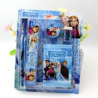 Wholesale Best Selling New Frozen Suit Children Stationery Set set Pencil ruler pencil sharpener eraser wallet Blue