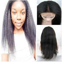 lace wigs for african american - Cheap Italian Yaki African American Wig Brazilian Virgin Remy Human Hair Kinky Straight Full lace Lace Front Wigs For Black Women