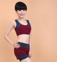 Wholesale 2015 Fitness Women Runing Dancing Gym Sports Suit Yoga Sets Vest Shorts Plus Size