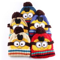 baby boy film - Winter Kids Child Skullies Beanies Bonnet Casquette Gorros Film Yellow Minions Wool Winter Hats for Baby Boys and Girls Knitted Cap