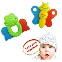 Wholesale 0 years Newborns Safety Teethers Rattle Cue Colorful Frogs Bee Animal Hand Bell Girl Boy Training Plastic Baby Toys