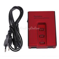 Wholesale Black Portable Port V USB Charging Station Charger for iPad iPhone S C K5BO