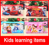 Wholesale Kids learning items Frozen stationery set for Students children stationery Pencil Cases pencel Bags Ruler Frozen