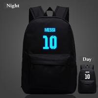 Wholesale Messi backpacks Night luminous sport bags Barcelona travel bags mochila for teenage boys girls men women outdoor bags waterproof