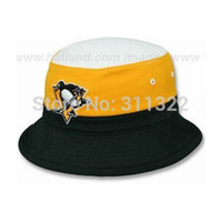 Wholesale Embroidered logo color block ice hockey Leisure Pittsburgh Penguins bucket hats