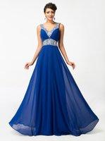 dress blue grace - Grace Karin Deep V neck Blue Crystal Long Prom Dresses Floor Length Empire Ruched Chiffon Formal Evening Gown CL4410