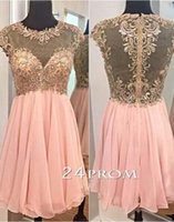 Cheap Custom Made Embroidery Lace Applique Bead Sheer Neck Cap Sleeve Chiffon Short Prom Dresses Sheer Illusion Back Sexy Homecoming Gowns Chic