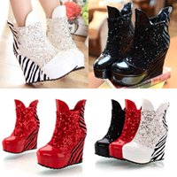 Wholesale Cheap Women Platform Pump Rough Heels Ankle Boots Nightclub Shoes Winter Warm Boot With Sequin X