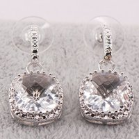 Wholesale New White Sapphire Woman Sterling Silver Crystal Earrings TE449