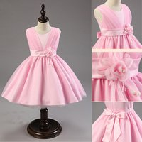 Wholesale 2016 Chirstmas Children Girl Dress Rose Baby Girl Princess Children s Clothing Dress With Flower Girl Formal Party Dress