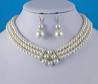 beautiful pearl jewellery - Beautiful Fashion Rhodium Silver Plated Rows Cream Pearl Necklace and Earrings Wedding Bridall Jewellery Sets