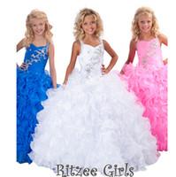 Wholesale 28 halter beads ball gown flower girl dresses for weddings girls pageant dresses prom dress children custom made