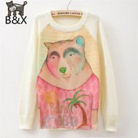 angora sweater pink - 2015 New Autumn Winter Pullover Knit Bear Papm Beach Cartoon Brand Sweater Angora Women Girl Cozy Top Sale Pink And White Color