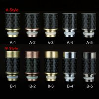 stainless steel fiber - Two different styles Carbon Fiber with Stainless steel Drip Tips wide bore Drip Tip for RAD Vivi Nova Protank e cig tanks vaporizer pen