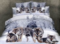bed-in-a-bag king size - 3D Wolf animal print bedding sets designer king queen size duvet cover bedspread bed in a bag bedroom flat fitted sheet snowflake cotton