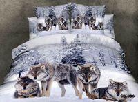 venda por atacado bedspread-Lobo 3D animal print conjuntos de cama designer de rainha do rei tamanho edredon cama tampa colcha em um quarto saco liso lençol floco de algodão 100