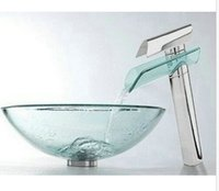 Wholesale Victory Hand Paint Flower Washbasin Tempered Glass Sink With Brass Faucet