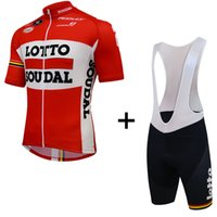 Wholesale cycling jersey lotto red Soudal bicycle bike clothing maillot ropa ciclismo blue gel white black bib shorts road