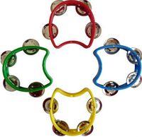 Wholesale 4 Jingles Plastic Tambourine Baby Grip Rattles Kids Musical Instrument Toy CM