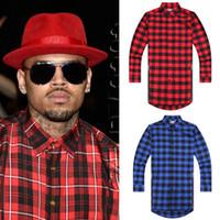 Wholesale Hip hop style mens red Tartan plaid shirts Long sleeve side gold zipper man extended casual bule Lattice skateboard shirt XXL