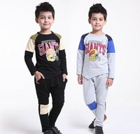 clothing new york - 2015 Spring Boys Long Sleeve New York Letter T shirt Long Harem Trousers Set Children Clothing Set Childs Outfits Black Gray M3032