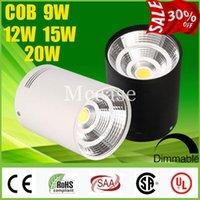 Loco 30% OFF CREE 9W 12W 15W 20W LED COB Focos regulable CRI88 110-240 V Surface Mounted accesorio del techo abajo se enciende lámparas CSA SAA UL
