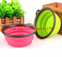 plastic bowl wholesale - Foldable Collapsible Pet Dog Silicone Travel Bowl Dog Feeder Dod Dishes Non Toxic Colors for your choose