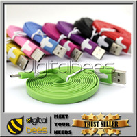 Wholesale Flat Noodle cable Micro USB Cable Data Line M2M3M Colorful USB Cable For Samsung Galaxy S5 S4 Iphone s plus