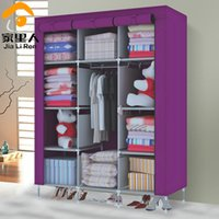 Wholesale Large simple wardrobe reinforced folding cloth hanging closet clothes cabinet storage