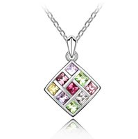Wholesale Statement Necklace Made With Real Swarovski Elements Austrian Crystal Square Shape Pendant Simple Jewelry Lady Cheap Necklace
