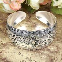 Wholesale Factory Tibetan Jewelry Vintage Silver Bangles Antique Tibetan Silver Metal Cuff Bracelet for women JJAL B348