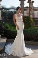 Wholesale 2015 Sexy New Arrival White Lace Beading Crystal Belt Mermaid Wedding Gowns Open V Back Wedding Dresses