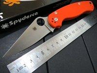 best camping knife - Best quality Custom Spyderco C81 knife Orange G10 handle white blade Cr13Mov steel folding knife hunting camping knife