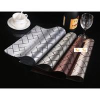 pvc table cloth - Elegant Plaid Table Placemats Waterproof PVC Art Decor Mats Pads Christmas Party Ornaments for Sale SD752