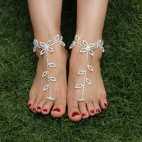 Wholesale 2pc Leaves Shining Crystal barefoot sandals anklet foot Beach Wedding Bridal Bridesmaid