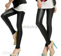 Cheap 2012 NEW Sexy Black Light Faux Leather Leggings Pants Shiny Tights Stretch Comfortable Slimming Splicing leggings ,5pcs