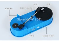 Wholesale turntable to mp3 converter record player blue colour