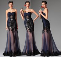 beads online uk - Cheap Long Black Evening Dresses UK Online Sexy Sweetheart Sleeveless Sheath Sweep Train Sequins Beads Applique Tulle Prom Formal Gown