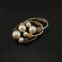 Wholesale Alloy Pearl Bracelets Unadjustable European Charm Bracelet Exquisite Gifts And Gold Silver Black Three Color Optional B323