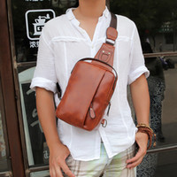 Wholesale Men PU Leather Travel Hiking Cross Body Messenger Shoulder Sling Chest Bag Pouch