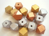 Wholesale Newest mm Gold and Silver Geometric Wood Beads
