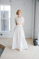 A-Line ruffled fabric - Country Wedding Dresses Two in One Taffeta Fabric Bride Gown with Ruffles Jewel Neck Floor Length Plus Size Wedding Dress Sleeves Two Piece