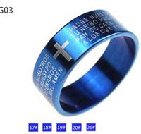 animal bible - Men Women Titanium Steel Cross Bible Metal Band Ring cool fashion rings necklace pendant blue black size drop shipping