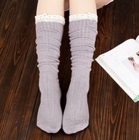 Wholesale 2014 High Quality Boot Socks Knee High Socks Women Lace Boot Socks with Frilly Socks