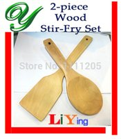 bamboo flatware sets - pc set wooden stir fry spatula kitchen cooking spoon Natural Wood bamboo rice paddle scoop with hook Flatware Kitchen tools